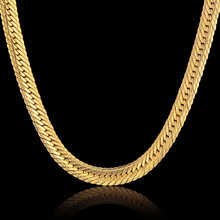 Vintage Long Gold Chain For Men Hip Hop Chain Necklace 8MM Gold Color Thick Curb Chain Necklaces Men's Jewelry Colar Collier