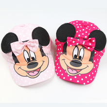 Retail multicolor new 2015 boys girls Summer Hats Child Cartoon  Minnie mouse Baseball Caps Kids sun Hats For Baby