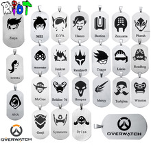 24 types OW Overwatch Pendant Necklace dog tag All heroes logo tracer reaper widowmaker Hanzo bead chain choker Necklace jewelry