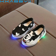 Kids Shoes Light Princess Girls Led Sneakers Spring/Autumn Breathable Fashion Boys Mickey Shoes Canvas Soft Girls Shoes