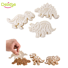Delidge 3 pcs/set Dinosaur Cake Molds Plastic Different Dinosaur Shape Cookie Cutter Biscuit Baking Tools Cutter Cake Decoration