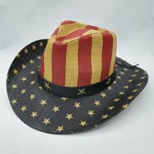 56-58 cm Vintage vaquero occidental sombrero para hombres mujeres sombreros  de paja de verano Bandera Nacional Cowgirl Jazz gorr. 75d0f9bbde6