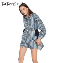[TWOTWINSTYLE] Lantern Sleeve Striped Long Shirt Dress Spring 2017 Turn Down Collar Party Dresses Women New Fashion Clothing