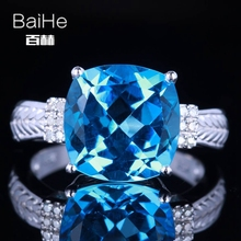 BAIHE Sterling Silver 925 4.78CT Certified Cushion Flawless 100% Genuine Blue Topaz Engagement Women Classic Fine Jewely Ring(China)