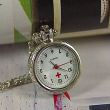 2017 watch with chain free necklace quartz analog new men women lady simple red cross nurse silver Pocket Watch Antique wp160(China)