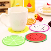 1 PCS Round Six Fruit Patterns Jelly Colors Silicone Tea Cup Pad Bottle Mat Antiskid Kitchen Table Decoration Accessories