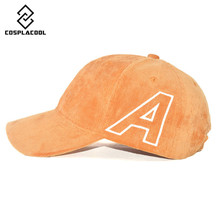 [COSPLACOOL] Men and women baseball cap Letter A corduroy pure color bend brim hat Baseball cap Autumn and winter lovers cap
