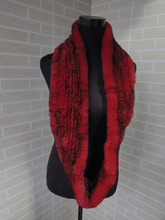 Genuine rex rabbit fur  circle scarf wrap cape red with black tips  shipping free