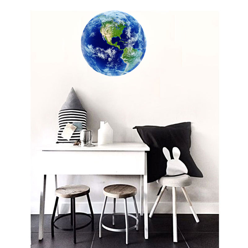 HTB1RwPDRVXXXXXxXVXXq6xXFXXXV - Hot sale 1PCS new Luminous blue earth Cartoon DIY 3d Wall Stickers for kids rooms bedroom wall sticker Home decor Living Room