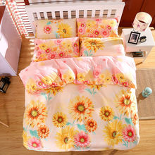 Bedding set sunflower print twin full queen king size bedcover 100% Cotton fabric fast shipping(China)