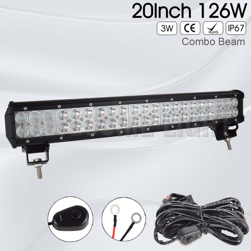 FREE TAX 20inch 126w Double Rows offroad car auto IP67 waterproof 24v work lamp wiring harness truck 12v work LED light bar <br>