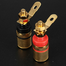 Brand New Gold Plated Amplifier Speaker Terminal Binding Post Banana Plug Socket Connector Easy installation
