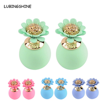 2017 New Flowers Beads Ball Double Side Stud Earrings For Women Candy Colors Mix Women Korea Fashion Earring Jewelry JJAL E418