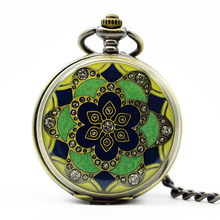 New Arrival Fashion Flower Enamel Yellow Green Jade Crystal Mechanical Pocket Watch Necklace Pendant Chain Womens Watch
