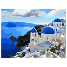 Blue Mediterranean 40 x 50 cm DIY Paint Number Oil Painting Kit All Cotton Home Decoration Painting & Calligraphy E5M1