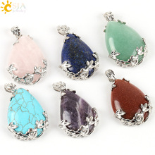 CSJA Jewelry Shopping Online Women Natural Pink Quartz Stone Necklace & Pendant Tear Water Drop Love Reiki Bead Ketting E082