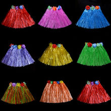 Wholesale 10 Colors Plastic Fibers Kid Grass Skirts Hula Skirt Hawaiian costumes 30CM Girl Dress Up(China)
