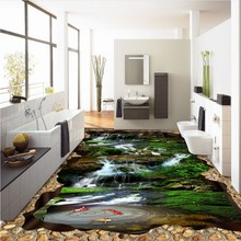 Free Shipping Falls Creek Crane Carp huge 3D flooring painting wallpaper bedroom hallway floor mural(China)
