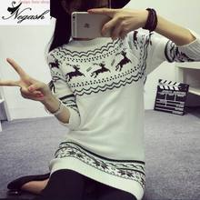Fashion Deer picture sweaters Mori Girl Ladies Christmas Sweater Sweaters And Pullovers Fashion O-Neck Pullover Feminino
