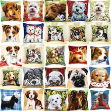 DIY Needlework Kit Unfinished Acrylic Yarn Embroidery Pillow Tapestry Canvas Cushion Front Cross Stitch Pillowcase Dogs two(China)