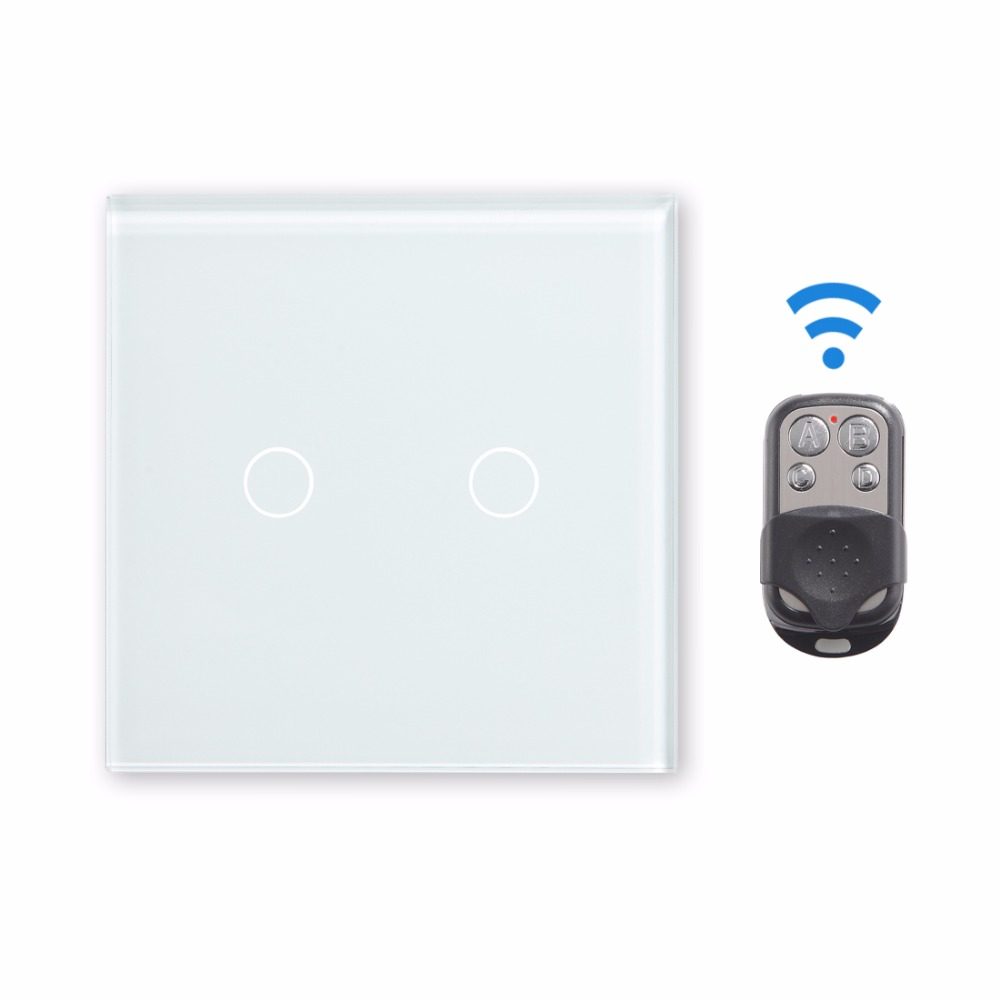 Touch Switch Remote 2 Gang 1 Way Touch Light Switch Wall Switch by BSEED Express Delivery 5 Years Warranty, White Black Gold<br>