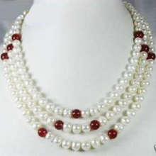 Free Shipping Natural White Freshwater Cultured Pearl Red stone Women Necklace Round Beads Diy 3 Row 7-8mm Jewelry Making MY5214(China)