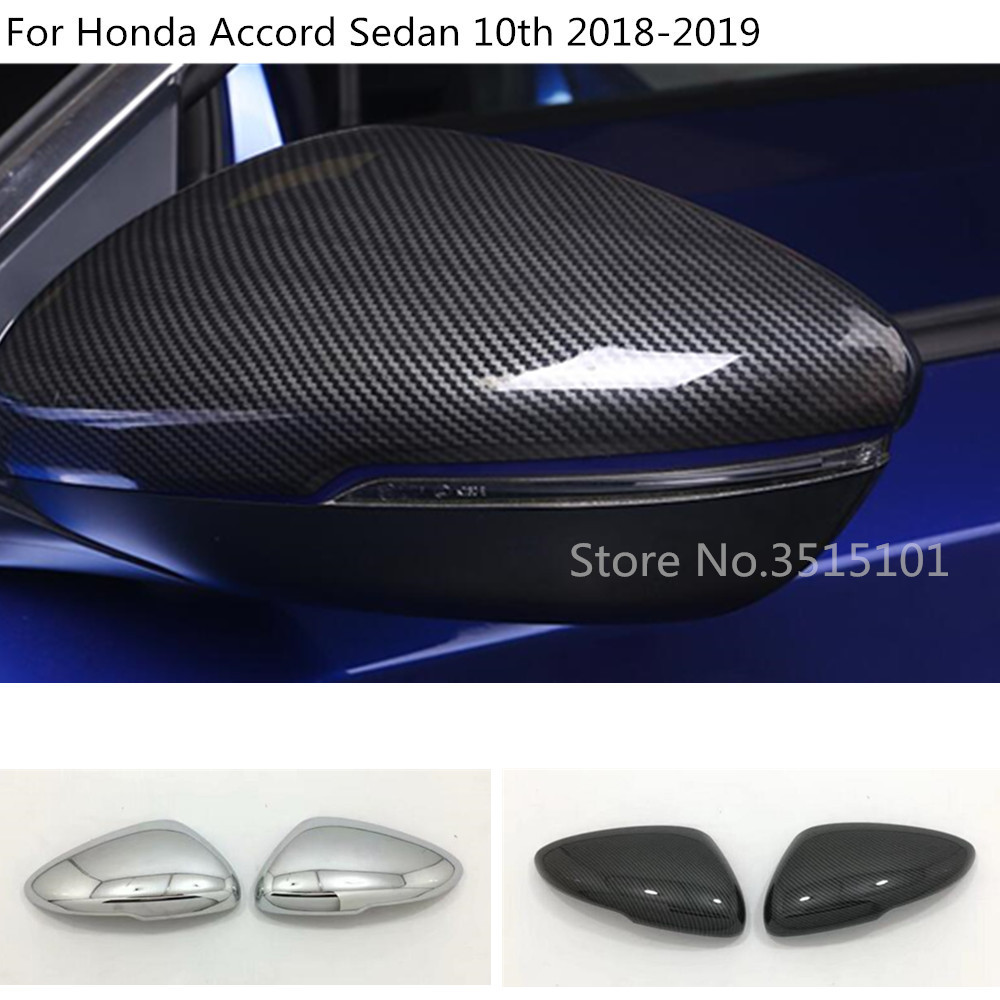 2PCS ABS Carbon Fiber Style Rearview Side Mirror Trim For HONDA ACCORD 2018 2019