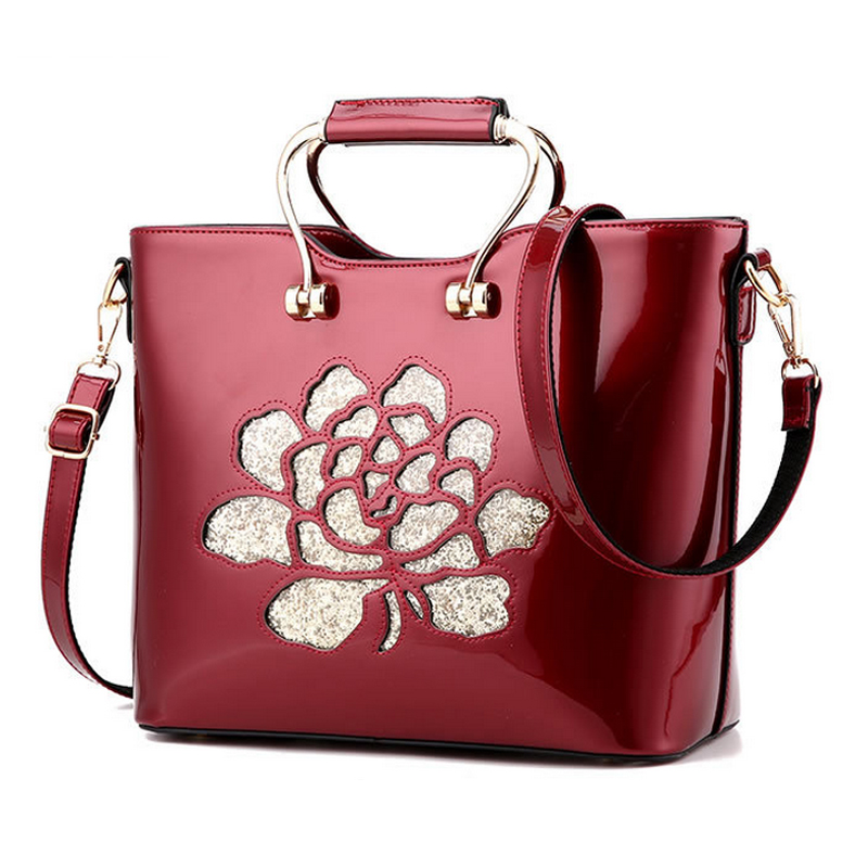 New Womens Hand Bag Hollow out Flower Designer Luxury Brand Shoulder Bag Ladies Fashion PU patent Leather handbags Totes women<br><br>Aliexpress