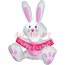 Big balloon inflatable sitting bugs holding an banner Happy Easter for Events and Party(China)