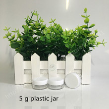 100 x 5g Clear PS Plastic Cosmetic Jar With White Lid Used As Promotion Cream Glitters Sample Packaging