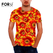 FORUDESIGNS Fashion Sunflower Men T Shirt Summer Style Short Sleeve Cotton T-shirt for Male 3D Floral Printed Teenager Boys Tees
