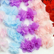 100pcs/lot Chiffon Flowers For Headbands Wedding Decoration Fabric Flowers Diy Girl Hair Accessories Dress Ornaments(China)
