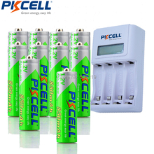 10Pcs PKCELL Pre-charged AAA Rechargeable Battery 4slot EU/US LCD Charging Indicator Charger For 1to4pcs AA/AAA NICD/NIMH Batter(China)