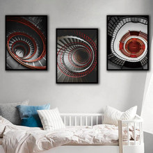 Nordic A4 Prints Art Painting Wall Black And Red Spiral Staircase Canvas Poster Bedroom Old Building Pictures Fashion Home Decor(China)