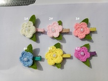 30pcs DIY Crochet flowers hairclip Headband Babys Girls Kids clips  Knitting wool flower Children Kids' Hair  Accessories