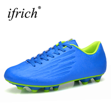 2016 Men Soccer Shoes Football Boots With Spikes Blue/Orange/Green Soccer Cleats Trainers Sneakers Leather Football Cleats Shoes(China)