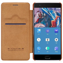 NILLKIN oneplus 3 case smart wake up Qin Series wallet Leather Case For oneplus 3t cover card case phone bag cases for oneplus3(China)
