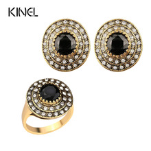 Kinel Vintage Jewelry Fashion Bridesmaid Jewelry Set Round Crystal Gold Color Jewelry Set Free Shipping(China)