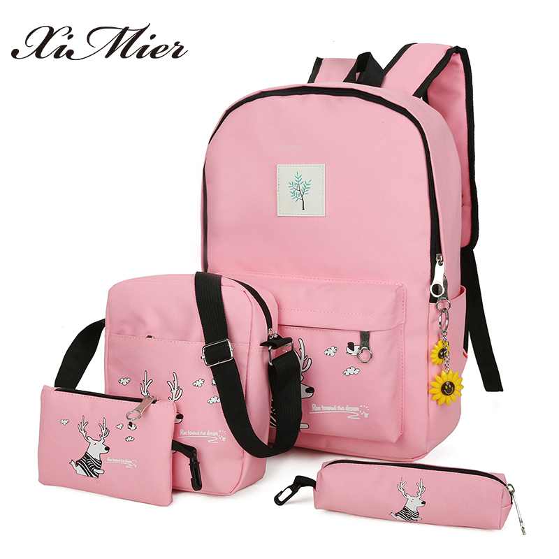 2018 New Women Leather Backpack Solid School Bags For