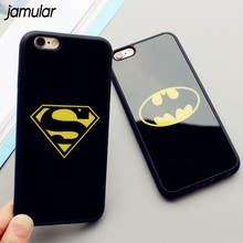 JAMULAR Mirror Superman Batman Case For iPhone 7 Plus 6 6s 8 Plus Cases Back Cover For iPhone X 6S 5 5S SE Covers Fundas Coque(China)