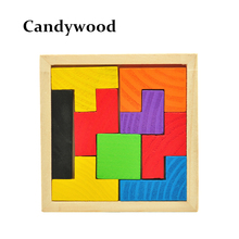 Wooden Tetris Game Educational Jigsaw Puzzle Toys Wood Tangram Brain-Teaser Puzzle Preschool Children Kids Toy(China)