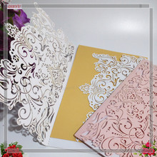 New 30Pcs Wedding Invitation Laser Cut Paper Greeting Card Postcards Wishes Gifts for Lover Party Supplies 8zSH073-30(China)