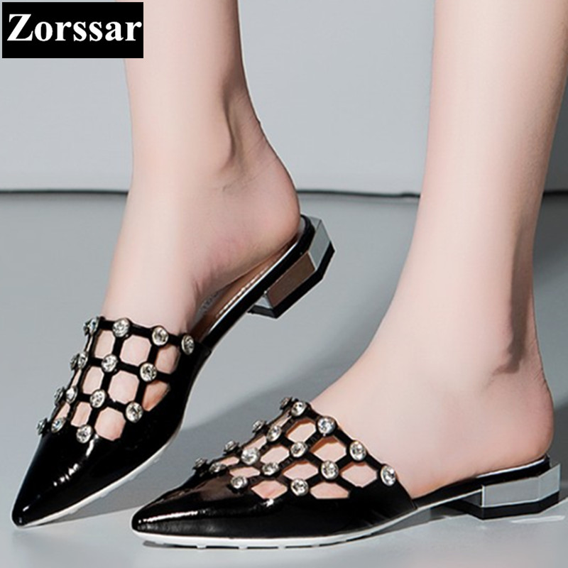 Summer Woman shoes Fashion rhinestone flat sandals women Pointed Toe slippers 2017 Genuine leather Casual womens Slides shoes<br>