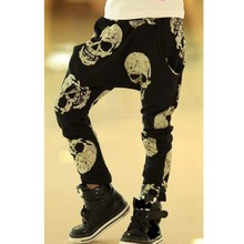 SQBCMW 2017 Hot sale Unisex size100~150 kids child clothes children pants for boys trousers girls harem pants skull black(China)