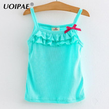 Summer T-shirt for Girls Solid Lace  Kids T Shirt Girls Sleeveless Baby Girl T-shirt Children Clothing 2751W