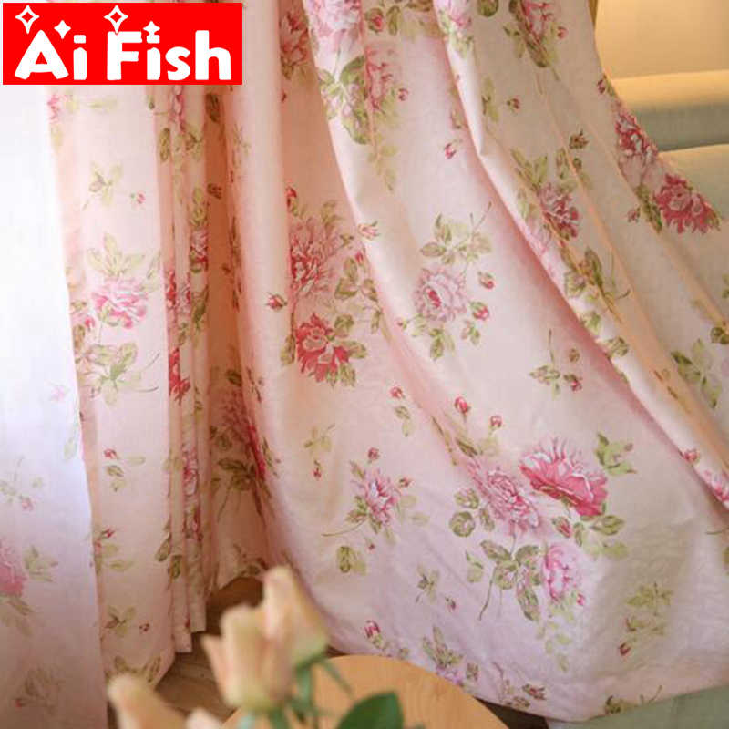 Pastoral Romantic Pink Rose Print Floral Curtains For Living Room  Blue Curtain Fabrics Translucidus Tulle MY080-30
