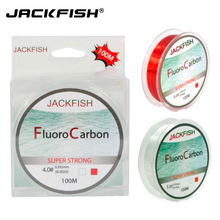 JACKFISH 100M Fluorocarbon Fishing Line red/clear two colors 4-32LB Carbon Fiber Leader Line fly fishing line pesca(China)