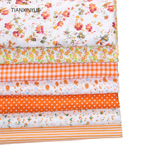 TIANXINYUE 7pcs 50cmx50cm Orange 100% Cotton Quilts Fabric for DIY Sewing Patchwork Kids Bedding Bags Baby Cloth Fabric(China)