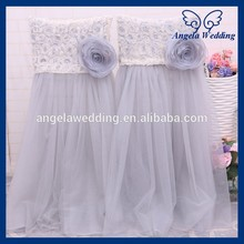 CH019JA New 2016 wedding high back puffy tutu grey tulle chair cover with flower