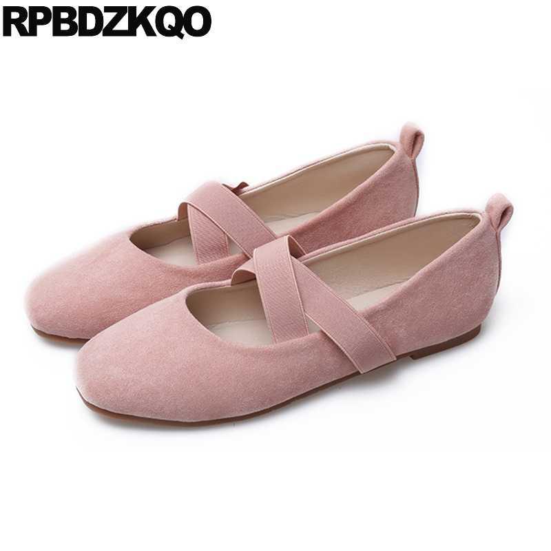 Flats Soft Ballet Women Ballerina Elastic Designer Square Toe Plus Size  Japanese School Suede Shoes Pink 7d1a654e2654
